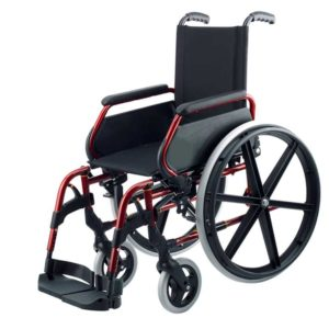 Silla de ruedas de acero Rojo Rueda Grande 1