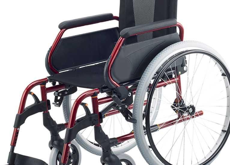 Silla de ruedas de acero Rojo Rueda Grande
