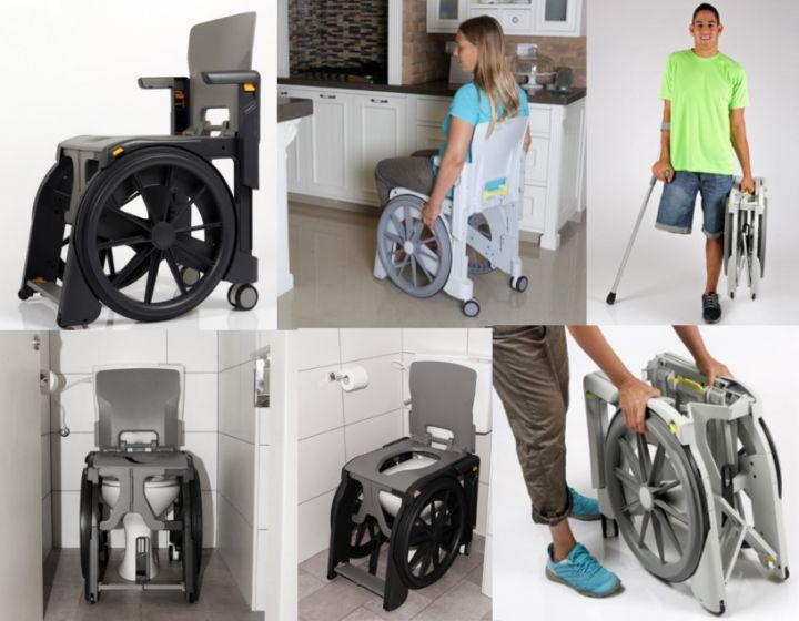 Sillas de Ducha e Inodoro PLEGABLE y AUTOPROPULSABLE muy estrecha - Wheelable -